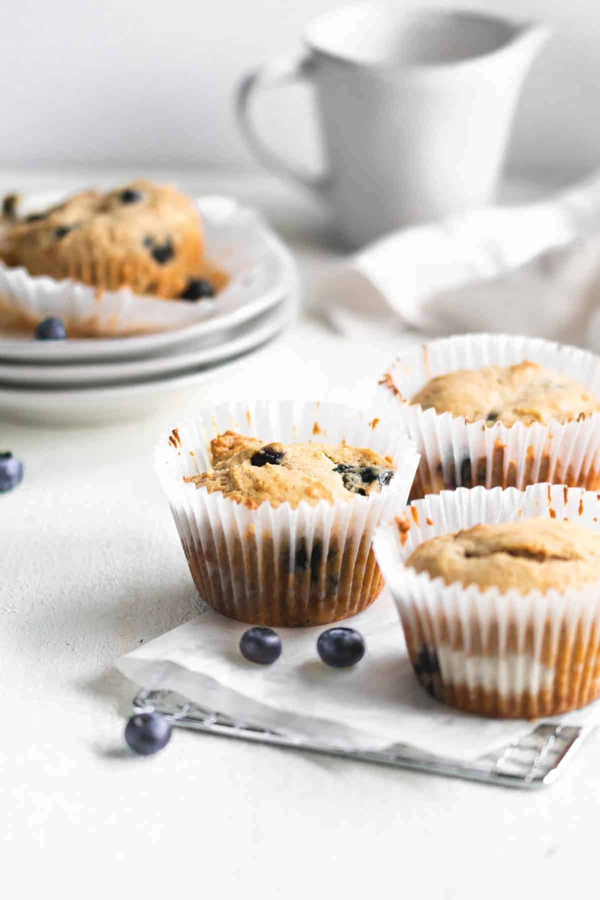 blueberry muffins on paper