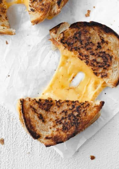 grilled cheese on parchment paper