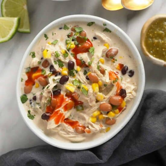 Cream cheese chicken chili in a bowl.