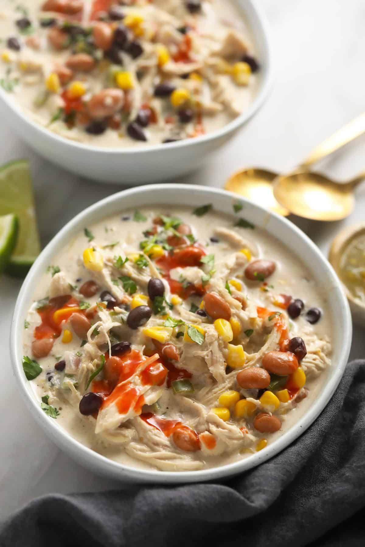 Cream cheese chicken chili in a bowl.