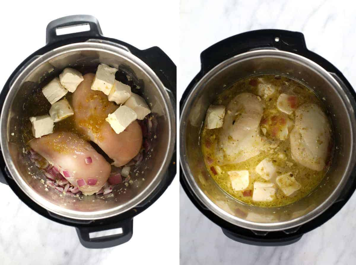 Cooking chicken chili in the Instant Pot.