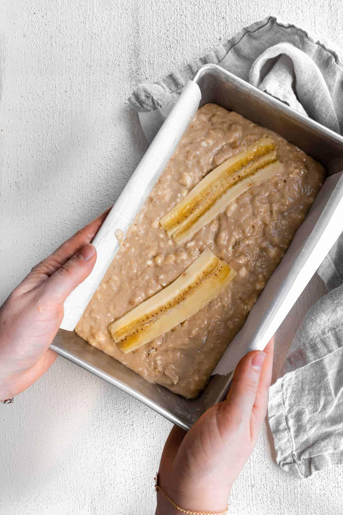cream cheese banana bread batter in bread pan