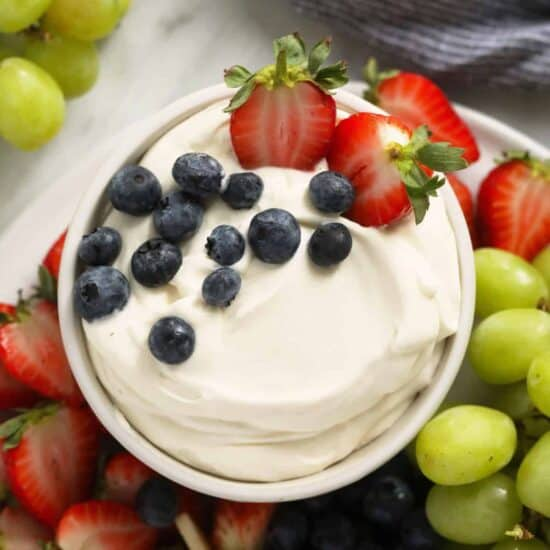 cream cheese fruit dip in a bowl
