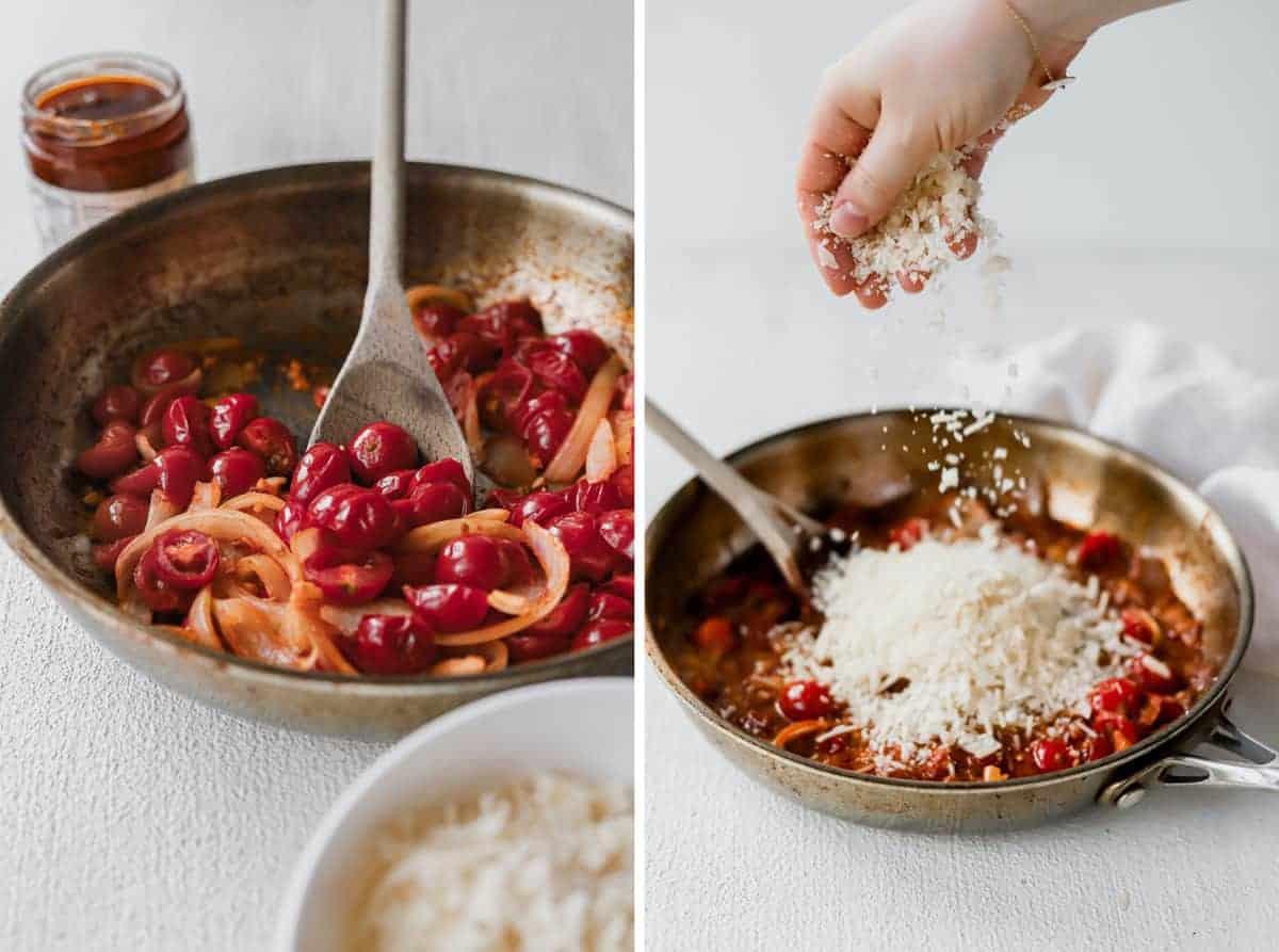 sun dried tomato pasta sauce in pan