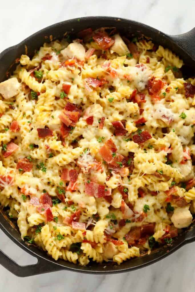 chicken bacon ranch casserole after being baked