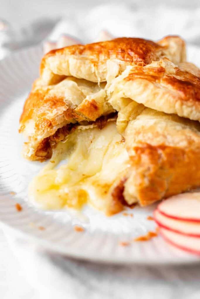 baked brie with oozing cheese
