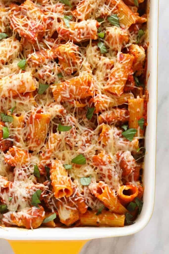 Chicken parmesan casserole baked and in a casserole dish