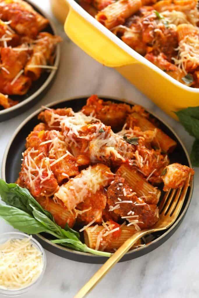 Chicken parmesan casserole on a plate.