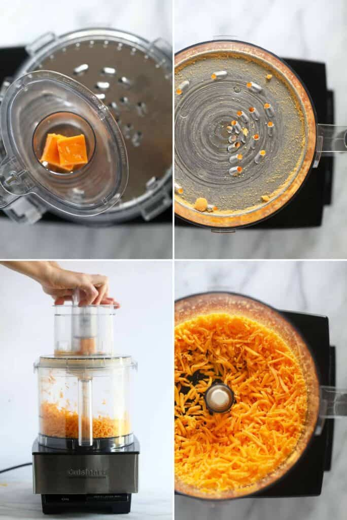 Placing cheddar cheese into to a food processor to grate cheese.