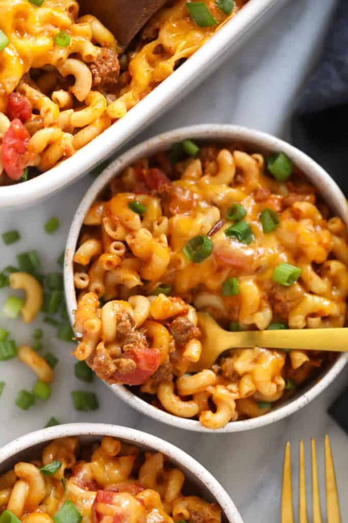 casserole on fork