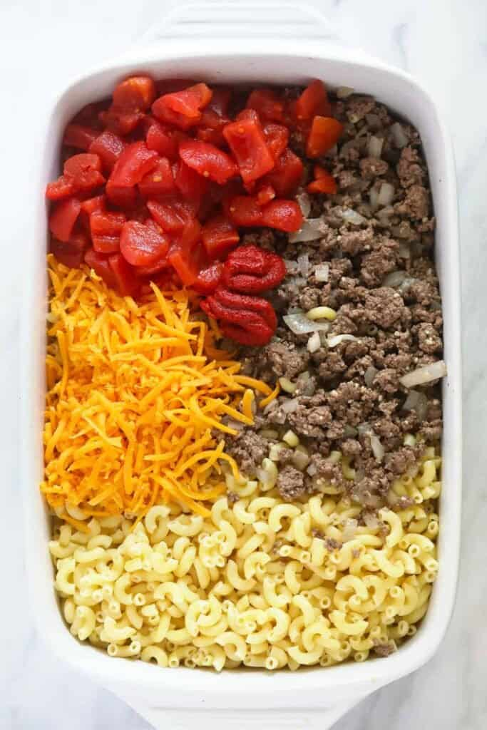 casserole ingredients in dish