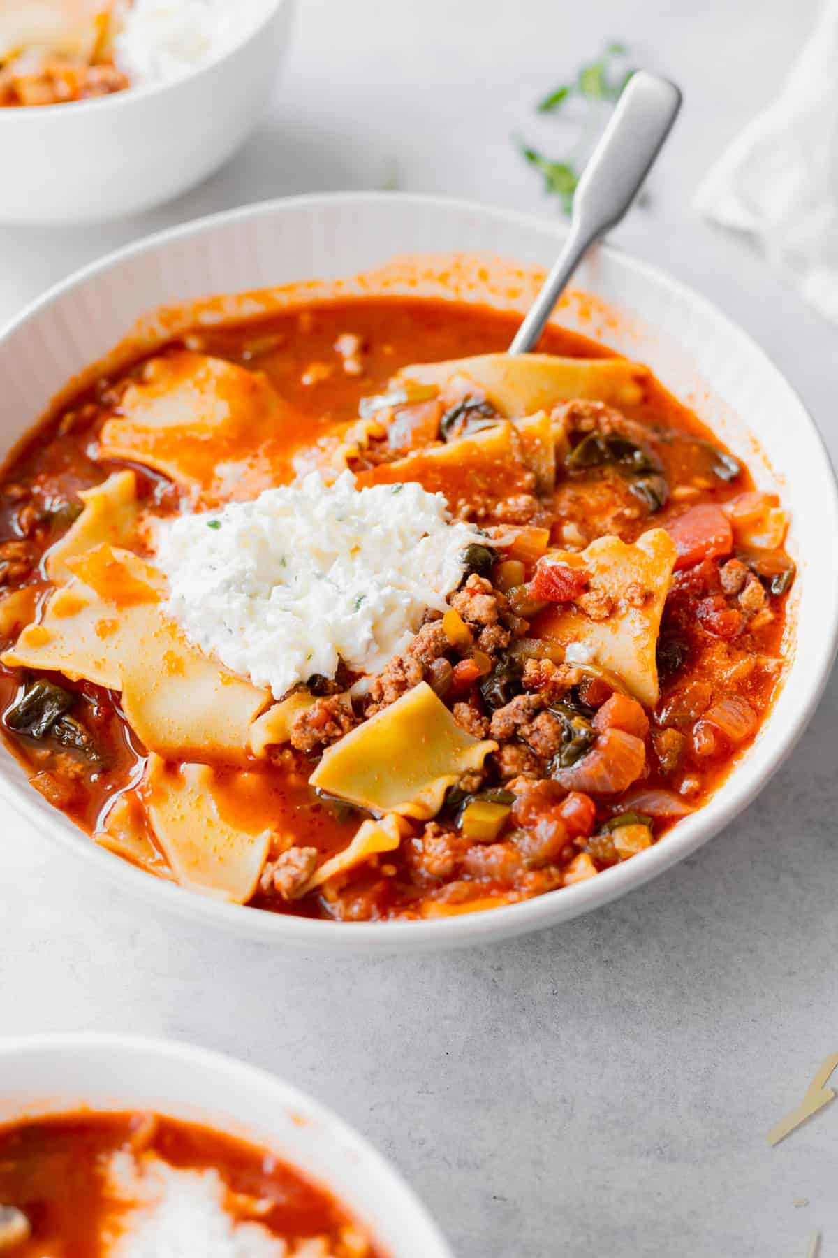 Lasagna soup in a bowl.