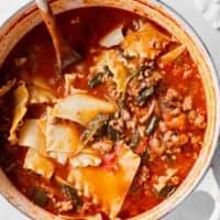 Lasagna soup in a dutch oven