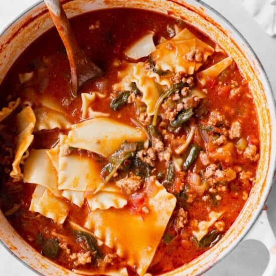 Lasagna soup in a dutch oven