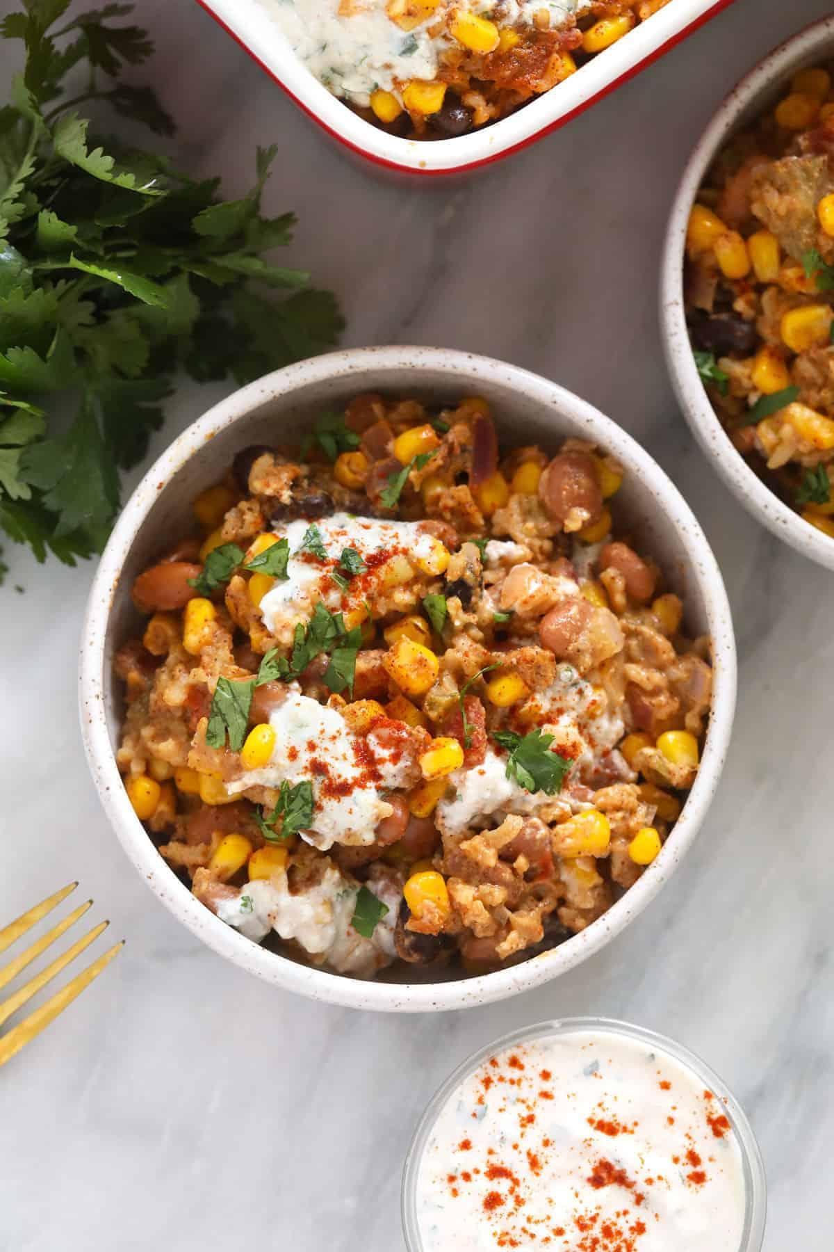 mexican street corn casserole in a bowl