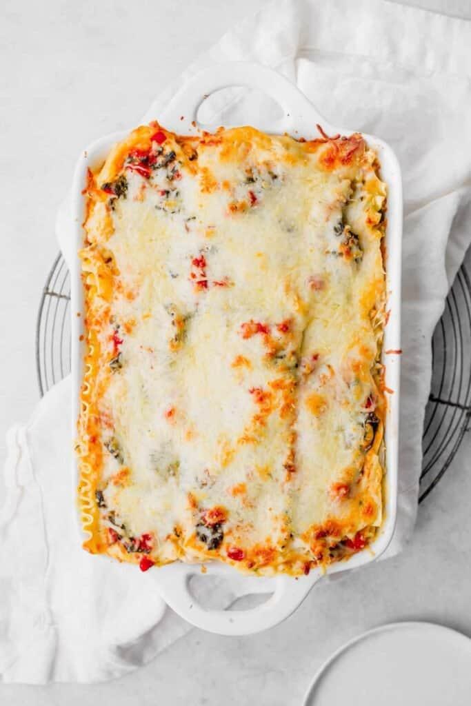 Chicken Alfredo Lasagna in a casserole dish