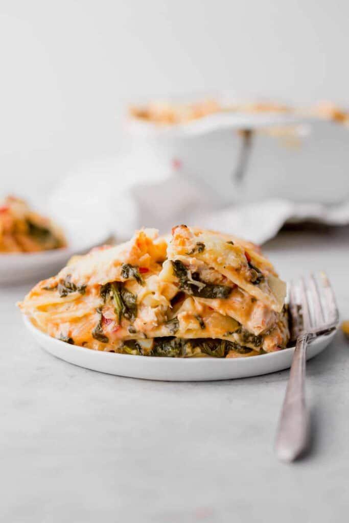 Chicken Alfredo Lasagna on a plate.