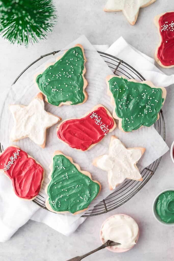 sugar cookies on parchment paper
