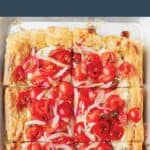 tomato tart on a puff pastry crust