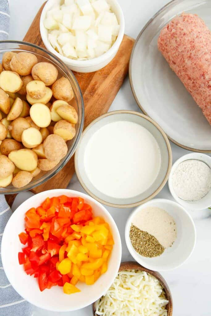 All the ingredients for the skillet breakfast potatoes.