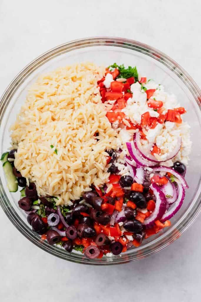 orzo pasta salad in bowl