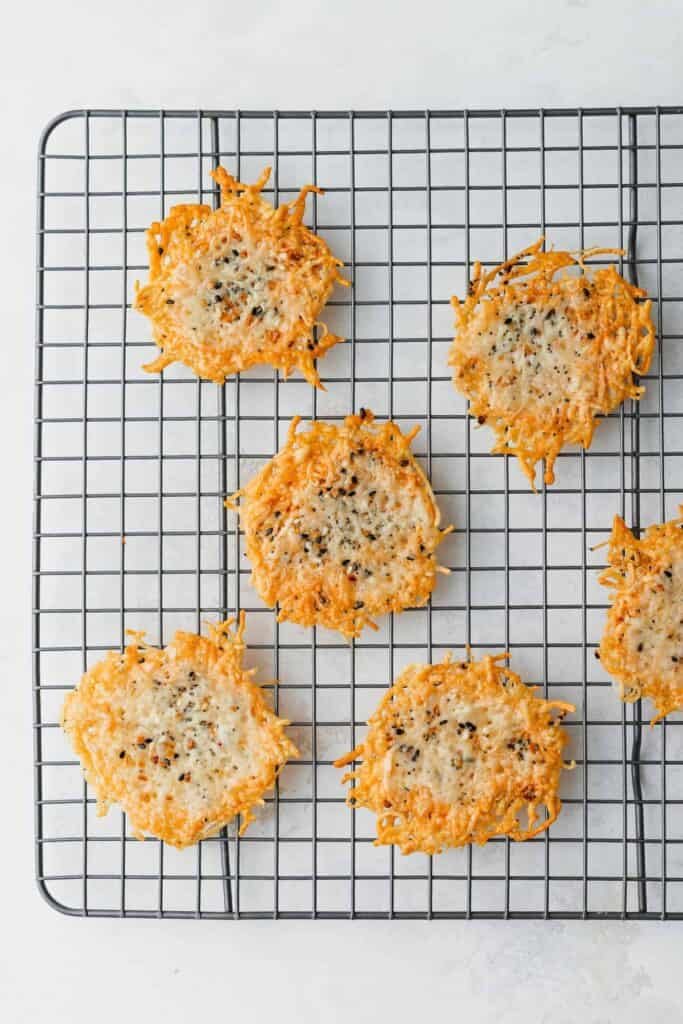 cheese crisps on cooling rack