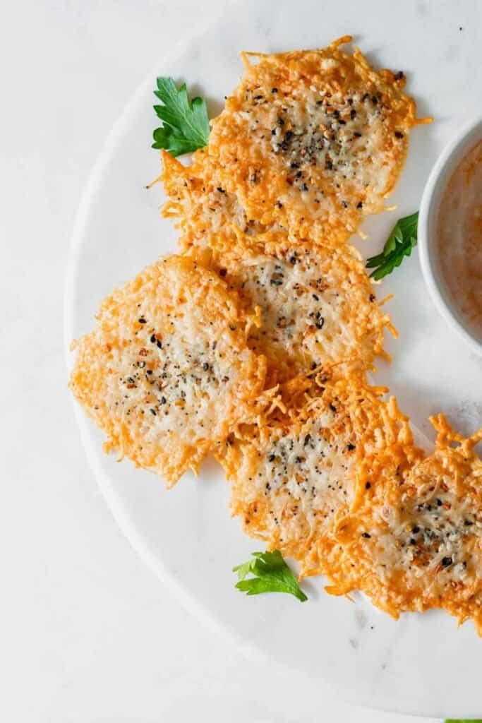 parmesan crisps on plate