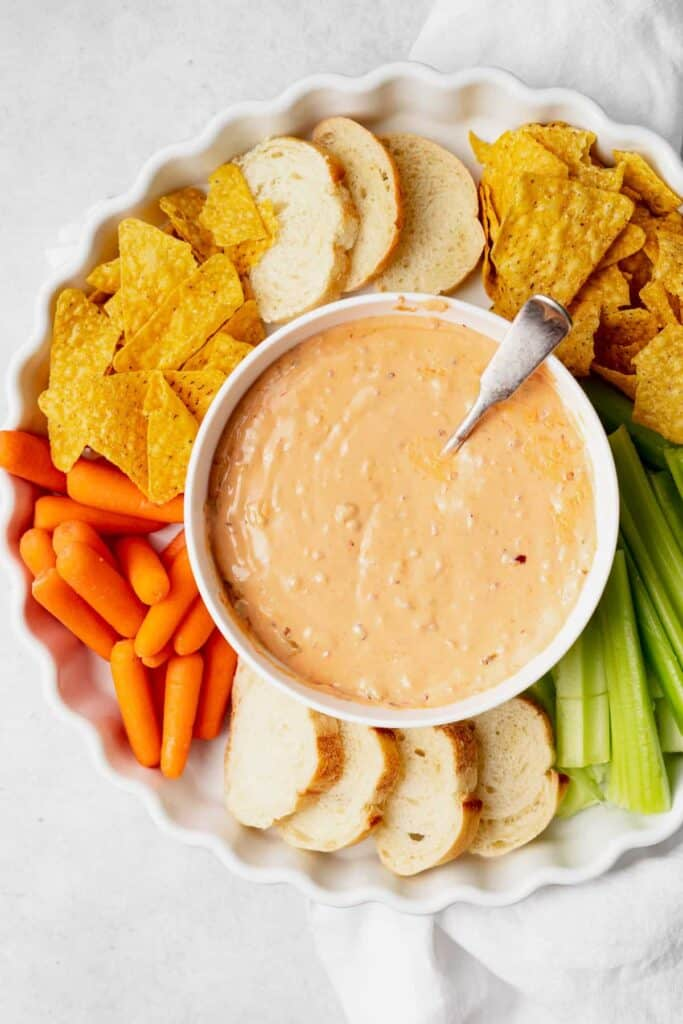 slow cooker queso dip in a bowl