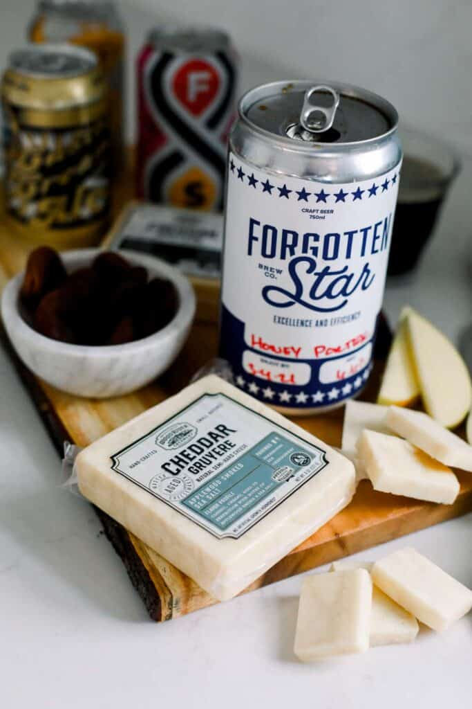 sliced cheese and apples with a delicious beer pairing