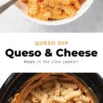 Queso dip in a bowl and in a slow cooker.