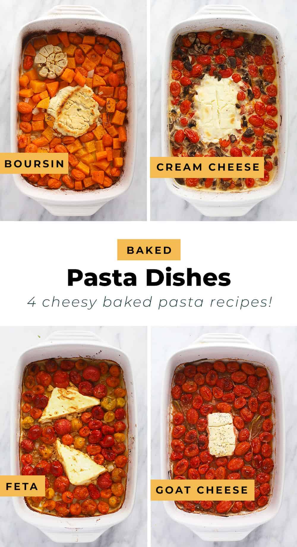 All four easy baked pasta dishes.