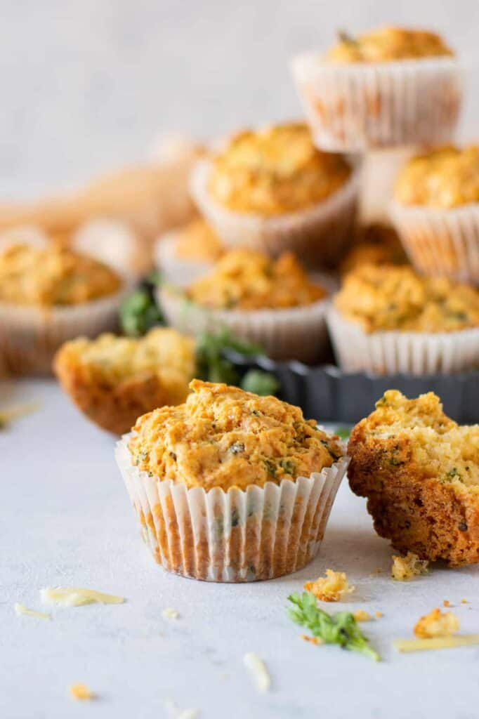 savory cheese muffins in muffin liners, ready to eat