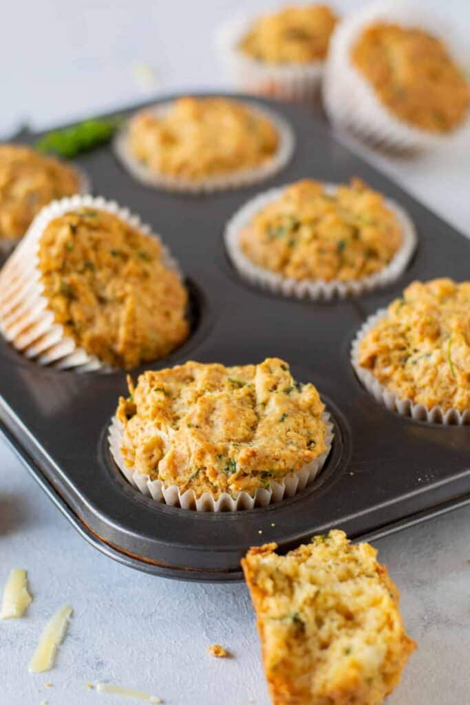 savory cheese muffins after being baked
