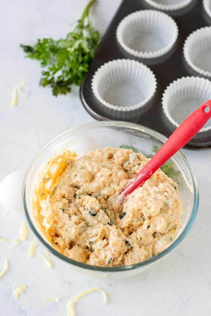 savory cheese muffin batter, ready to be poured into muffin liners and baked