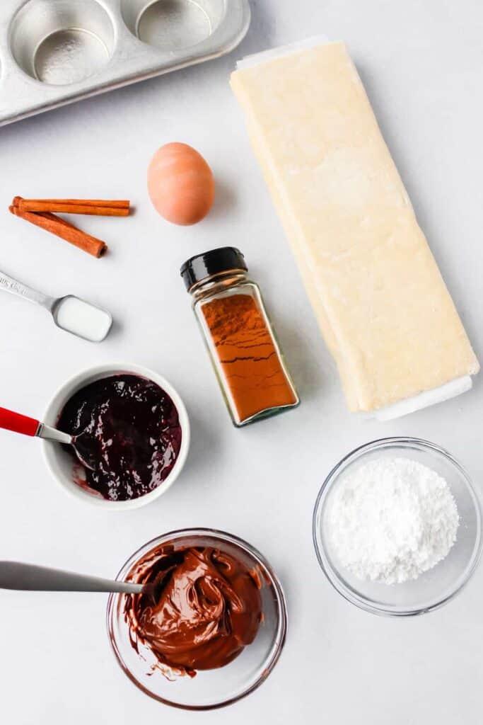 ingredients for chocolate raspberry cinnamon rolls, ready to make into cinnamon rolls