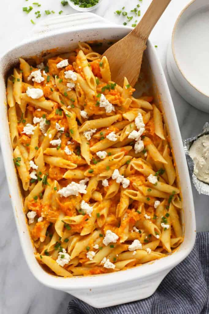 Baked boursin cheese pasta in a casserole dish.