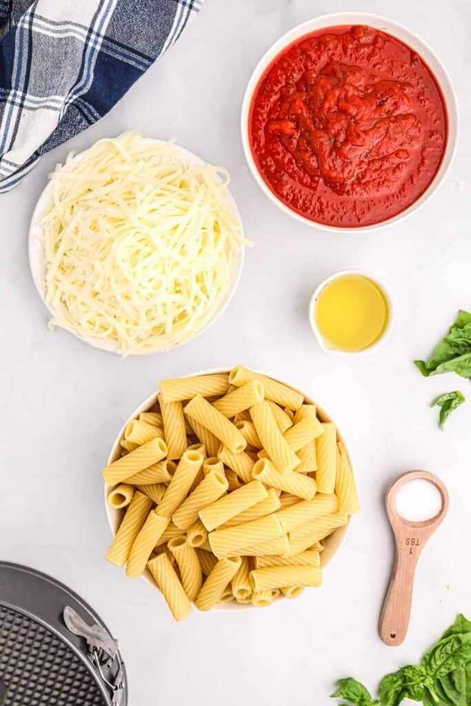 cheese, pasta, olive oil, and sauce
