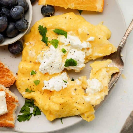 Goat Cheese Soft Scrambled Eggs