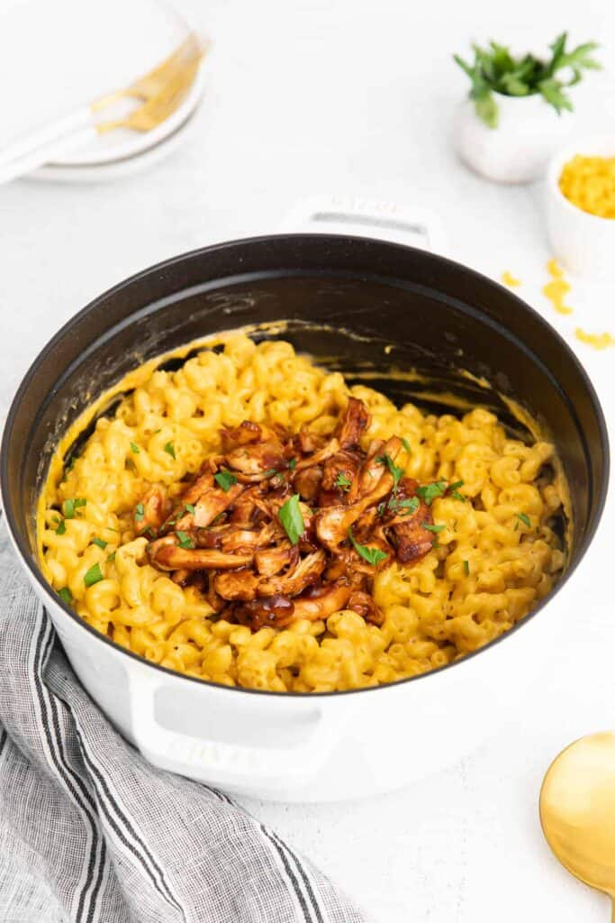 BBQ chicken mac and cheese in a pot.