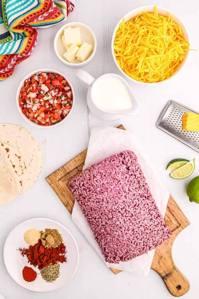 All the ingredients for taco lasagna.