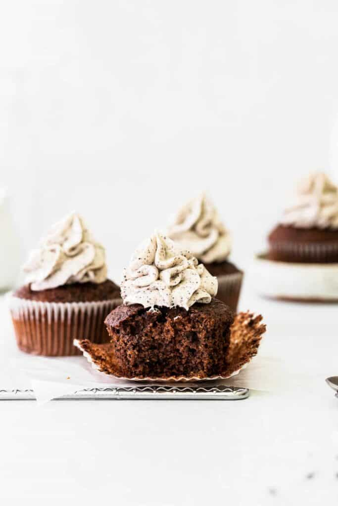 chocolate cupcakes on wire rack
