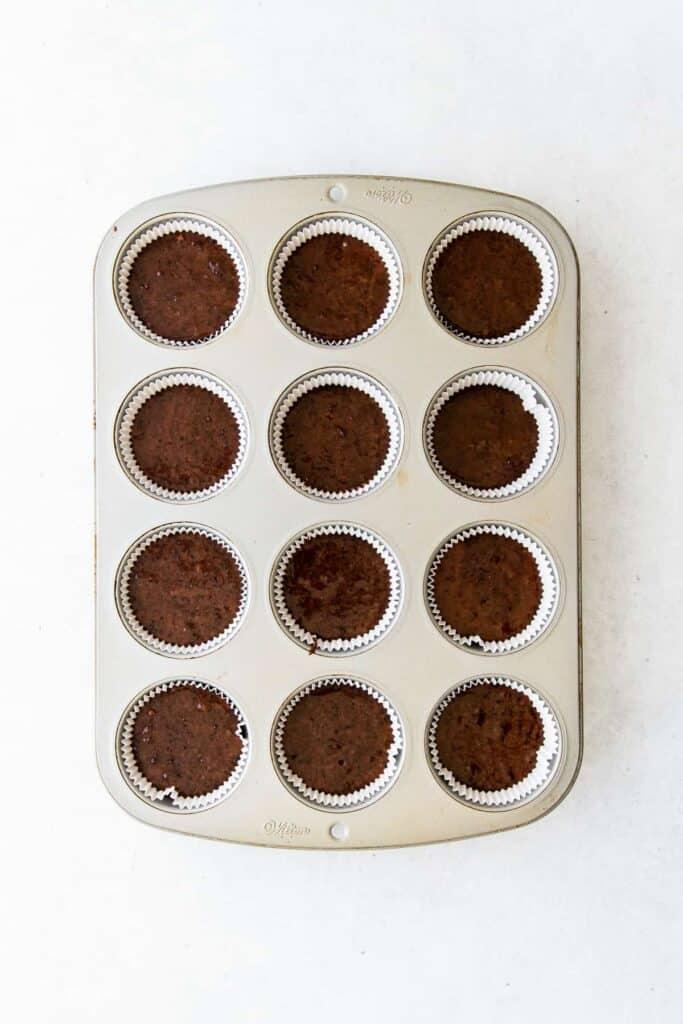 chocolate cupcakes in cupcake pan