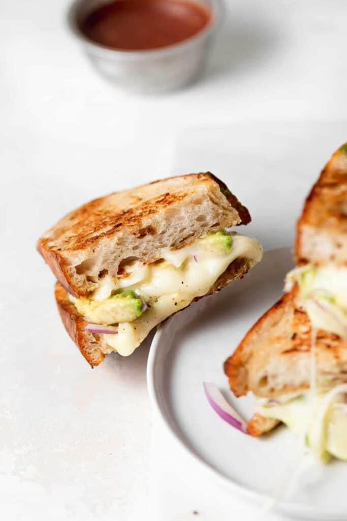 avocado grilled cheese on plate