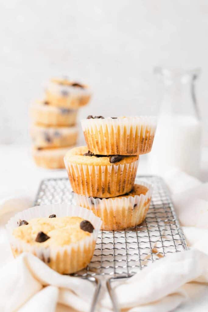 chocolate chip ricotta muffins in muffin liners