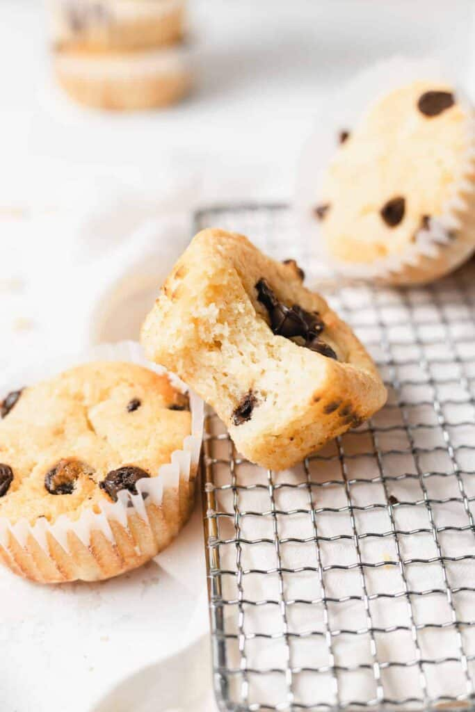 chocolate chip ricotta muffin with a bite taken out of it