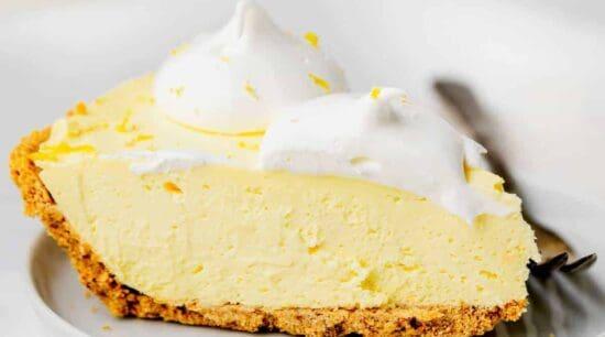 Cream Cheese Lemonade Pie slice on a plate.