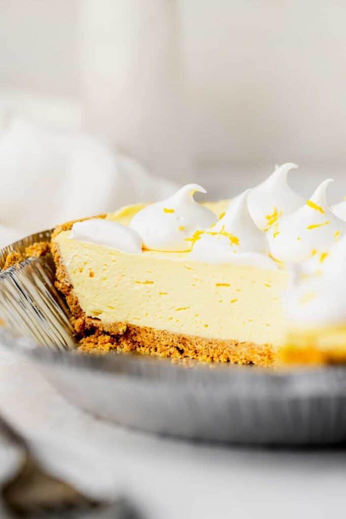 Cream cheese lemonade pie with whipped cream topping.
