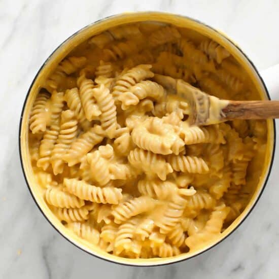 Gluten free mac and cheese in a pot