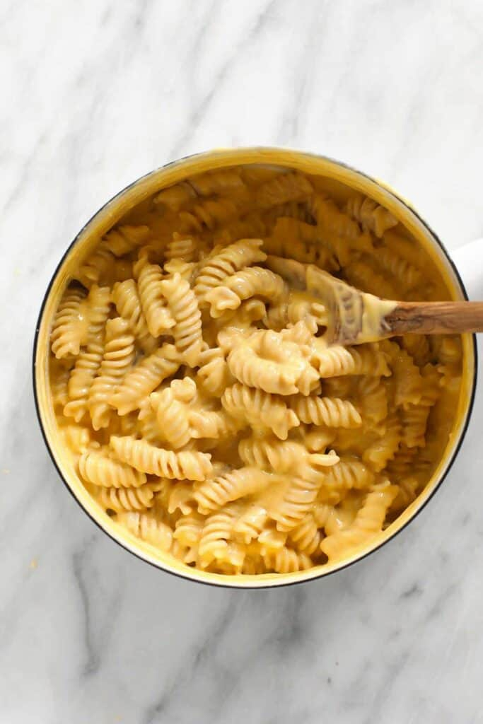 A pot of gluten free mac and cheese.