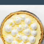 Cream cheese lemonade pie in a pie tin.